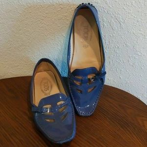 Tod's Shoes - TOD'S Patent Leather Blue Shoes, Made In Italy,